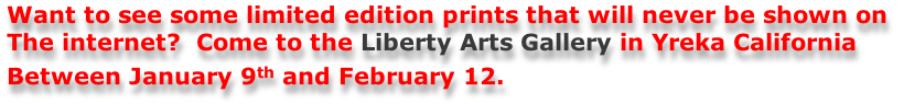 Want to see some limited edition prints that will never be shown on  The internet?  Come to the Liberty Arts Gallery in Yreka California  Between January 9th and February 12.